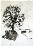 Oak 1 by Jeremy Scrine, Drawing, Charcoal on Paper
