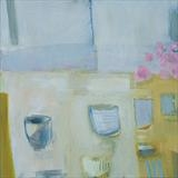 Still life with cups 2 by Jeremy Scrine, Painting, Oil on canvas