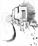 Voyagage of the Dustbin Lorry Drawing 5 by Jeremy Scrine, Drawing, Graphite and Charcoal