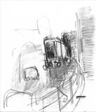 Voyagage of the Dustbin Lorry Drawing1 by Jeremy Scrine, Drawing, Graphite and Charcoal