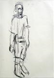 Walking Man study 1 by Jeremy Scrine, Drawing, Charcoal on Paper