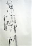 Walking Man study 2 by Jeremy Scrine, Drawing, Charcoal on Paper